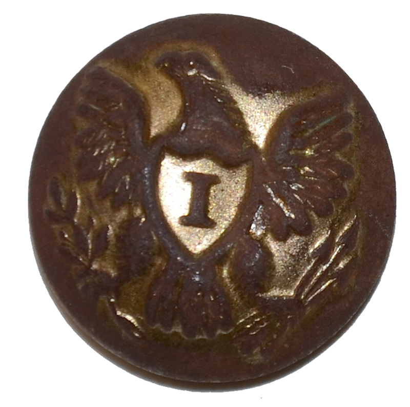 US INFANTRY 'I' OFFICER'S CUFF BUTTON RECOVERED AT THE SHERFY FARM, GETTYSBURG