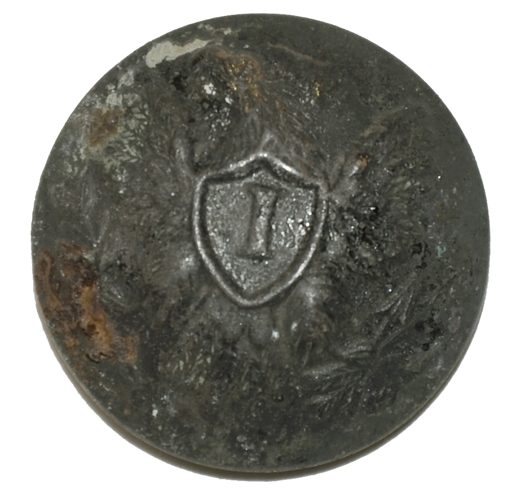 US INFANTRY 'I' OFFICER'S JACKET BUTTON RECOVERED AT OAK RIDGE, GETTYSBURG