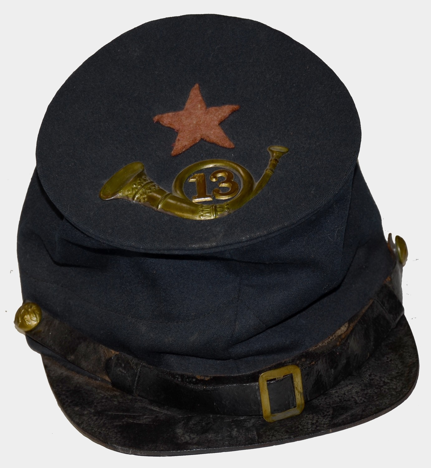 VERY NICE L.J. & I. PHILLIPS (TYPE-II) FORAGE CAP WITH CORPS BADGE AND INSIGNIA FOR THE 13th NEW JERSEY 12th AND 20th ARMY CORPS