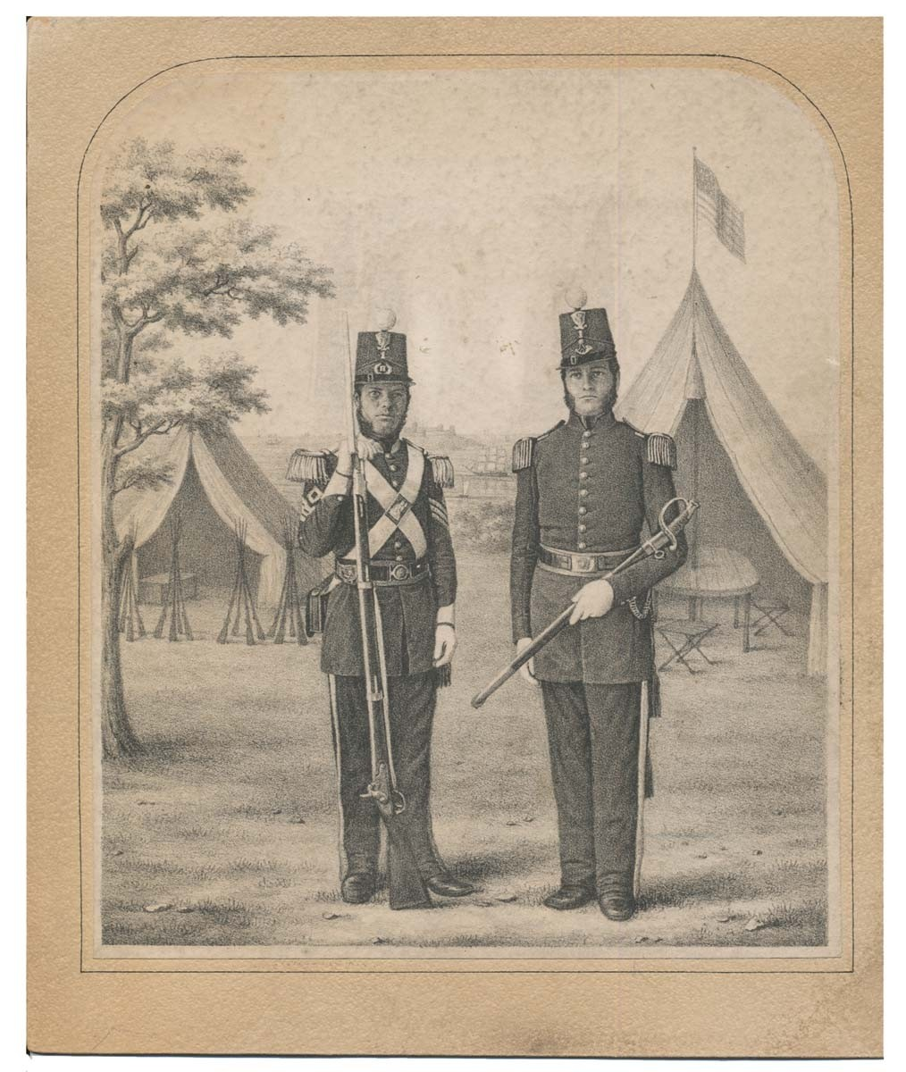 "CIVIL WAR ERA PRINT OF TWO MEMBERS Of ""THE SALEM MECHANIC LIGHT INFANTRY"""