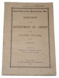 INSTRUCTIONS OF THE GOVERNMENT OF ARMIES OF THE UNTIED STATES IN THE FIELD—ID'D TO BVT. BRIG. GENL. ISAAC DYER [COL. 15TH MAINE]