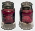 GETTYSBURG SOUVENIR RUBY GLASS SALT & PEPPER SHAKERS