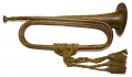 CIVIL WAR BRASS DOUBLE LOOP TRUMPET WITH CORD BY STRATTON & FOOTE
