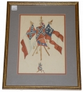 FRAMED EARLY PAINTING OF C.S. FLAGS