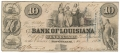 THE PRESIDENT DIRECTORS & CO. OF THE BANK OF LOUISIANA $10.00 NOTE JUNE 14TH 1852