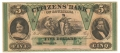 CITIZENS BANK OF LOUISIANA $5.00 NOTE