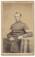NICE SEATED CDV OF A STERN LOOKING UNION FIRST SERGEANT