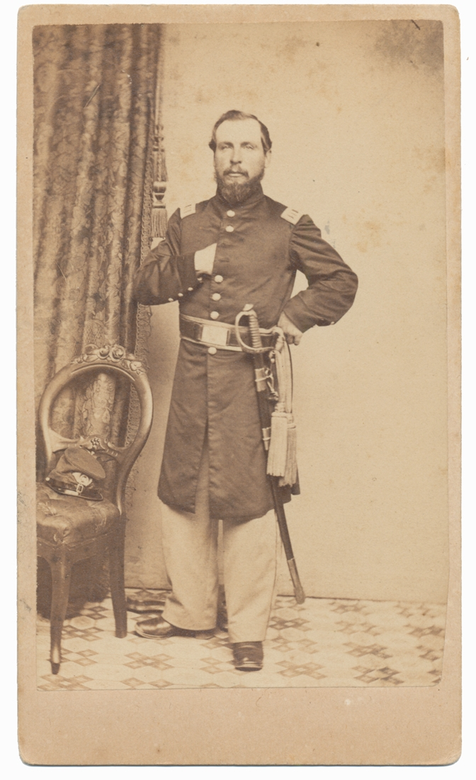 NICE LOOKING CDV OF IDENTIFIED 43RD MASSACHUSETTS CAPTAIN, JOSIAH SOULE, JR.