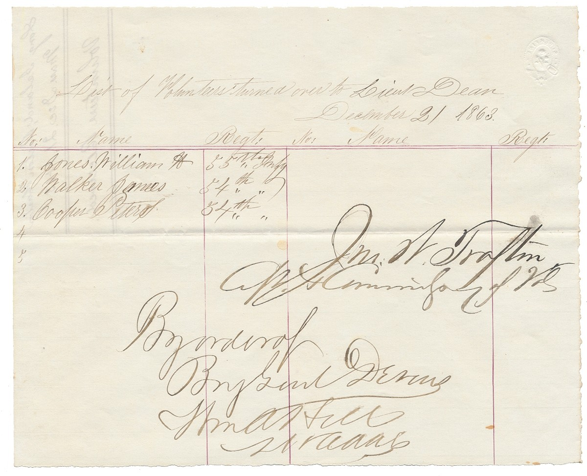 1863 54TH MASSACHUSETTS REGIMENTAL DOCUMENT - LIST OF VOLUNTEERS