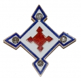 RED, WHITE, AND BLUE ENAMELED 10th ARMY CORPS BADGE