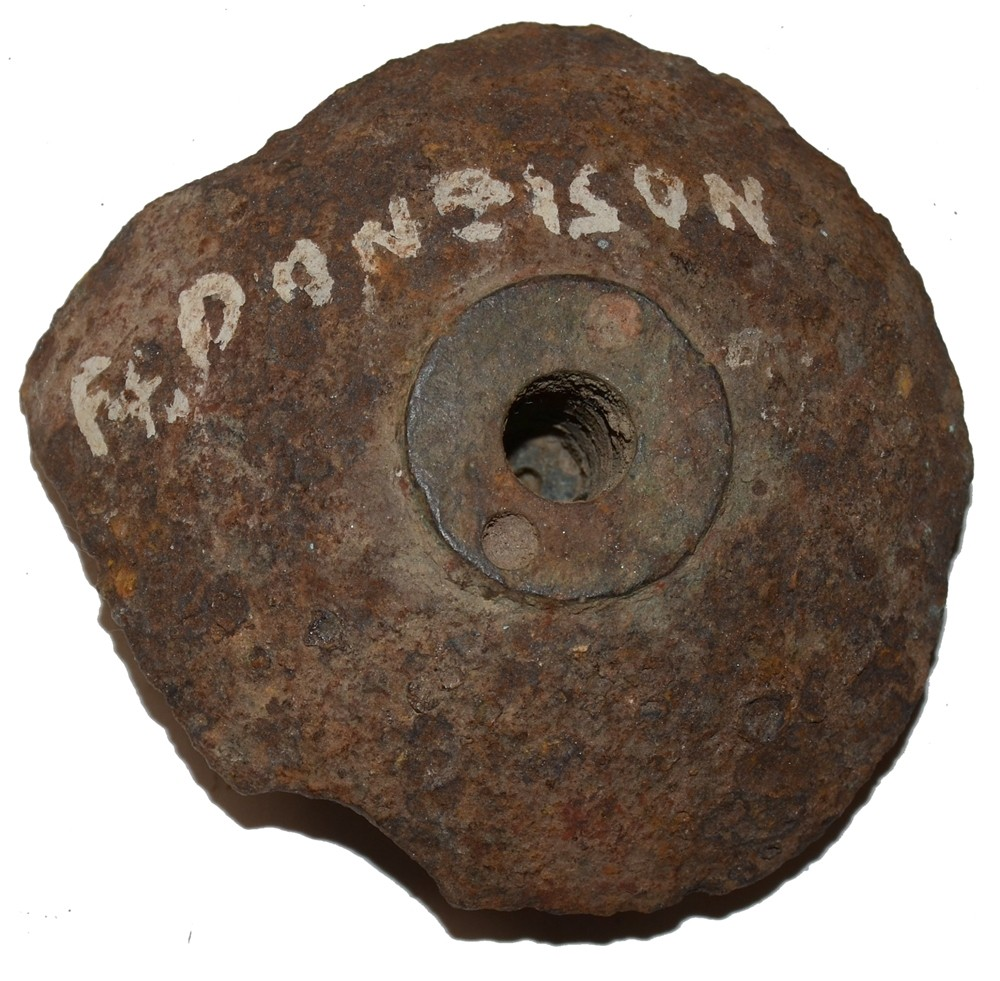 CONFEDERATE CANNONBALL FRAGMENT WITH FUSE FROM FORT DONELSON