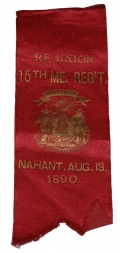 EARLY REUNION RIBBON FOR THE 15TH MAINE, 1890, COL. DYER ESTATE 15th MAINE