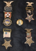 G.A.R. COMMANDER-IN-CHIEF SAMUEL RINNAH VAN SANT MEDAL GROUP, LATER GOVERNOR OF MINNESOTA, WITH TWO GOLD PRESENTATION BADGES