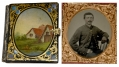 SIXTH PLATE TINTYPE OF SEATED UNION SOLDIER IN WONDERFUL MOTHER OF PEARL CASE