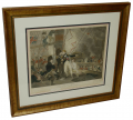 FRAMED ORIGINAL HAND COLORED 1806 ENGRAVING OF THE DEATH OF NELSON AT TRAFALGAR