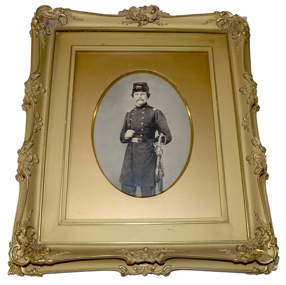 VERY HANDSOME FRAMED PICTURE OF MAJOR GORDON TANNER OF THE 22ND INDIANA INFANTRY KILLED IN DECEMBER OF 1861