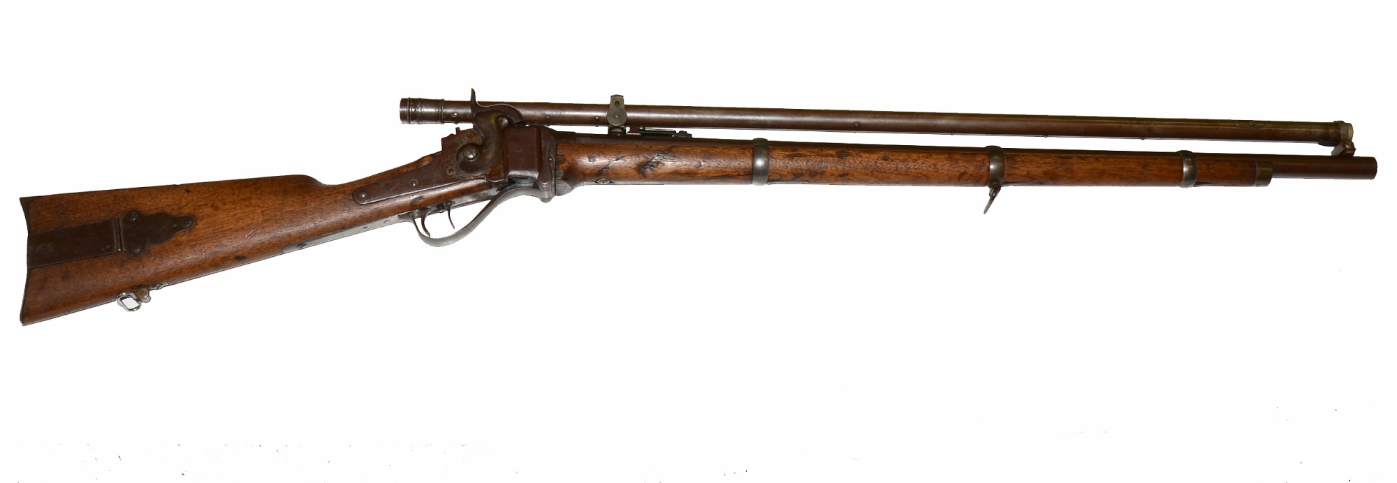 NEW MODEL 1859 SHARPS RIFLE WITH ORIGINAL SCOPE  IN BERDAN