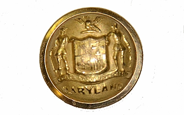 EXCELLENT CIVIL WAR MARYLAND STATE SEAL MILITIA STAFF BUTTON — Horse
