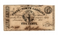 JANUARY 1, 1863 STATE OF NORTH CAROLINA 5 CENT NOTE