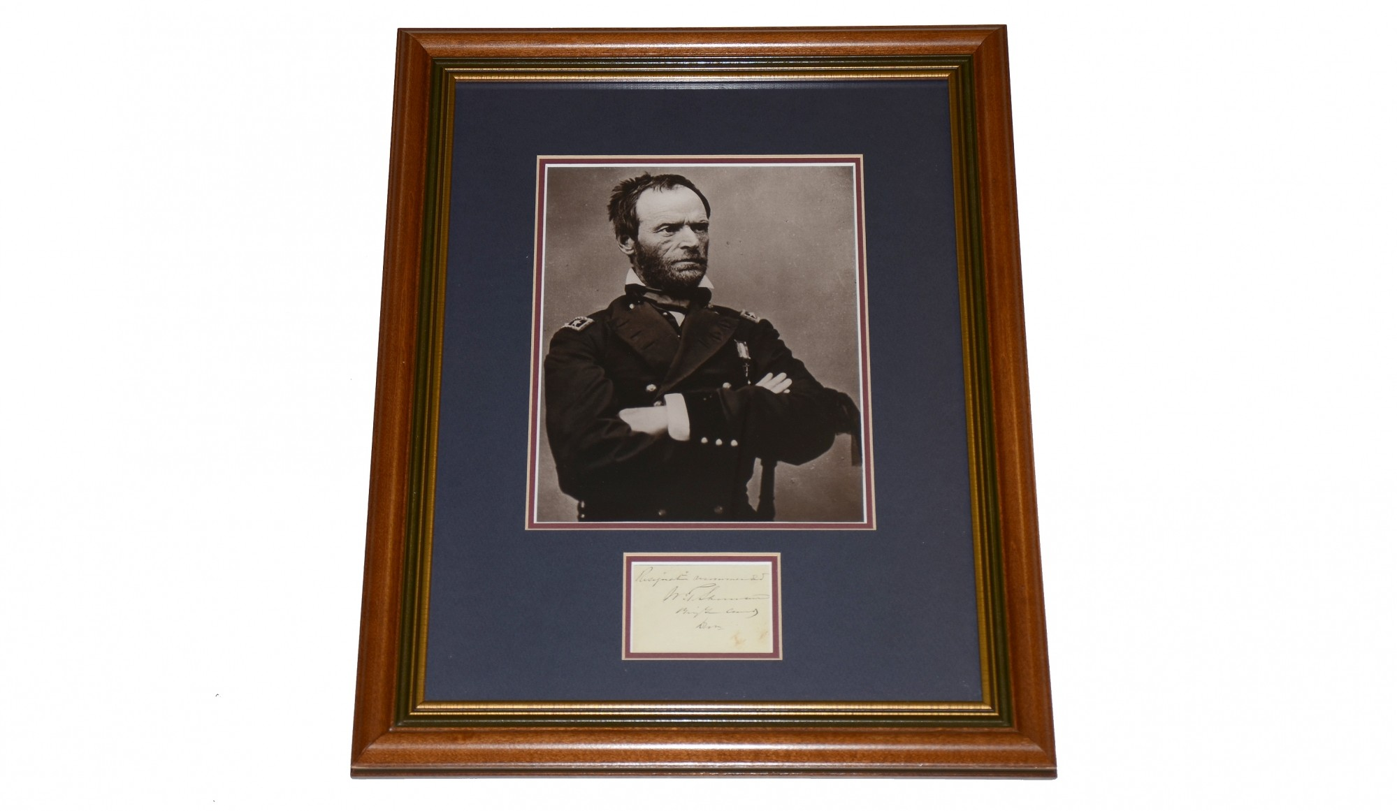 Framed autograph of general william t sherman as division framed autograph of general william t sherman as division commander jeuxipadfo Choice Image