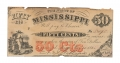 CONFEDERATE CURRENCY - THE STATE OF MISSISSIPI FIFTY 50 CENT NOTE