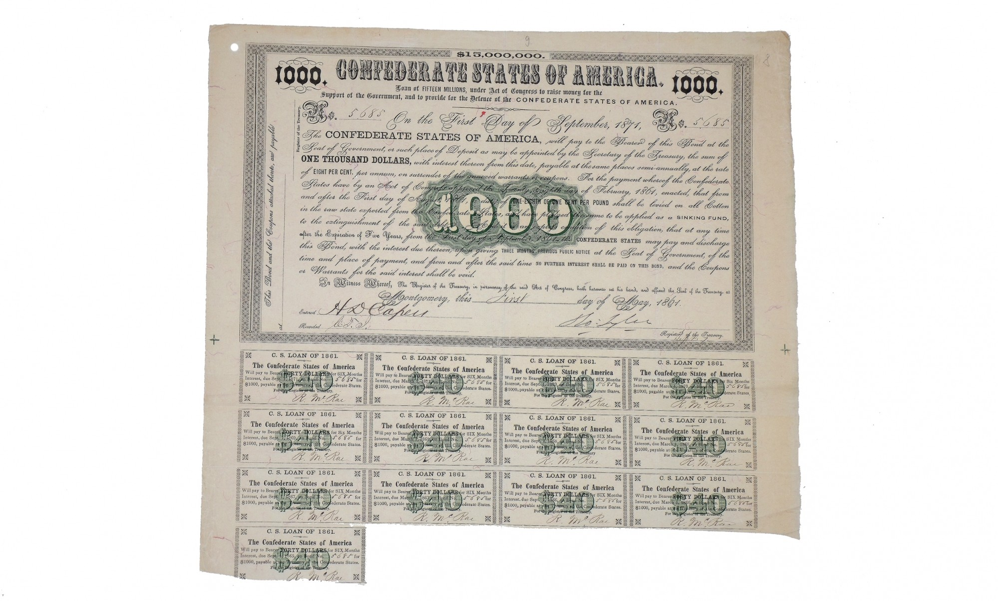 $1000 CONFEDERATE BOND ISSUED FROM MONTGOMERY — Horse Soldier